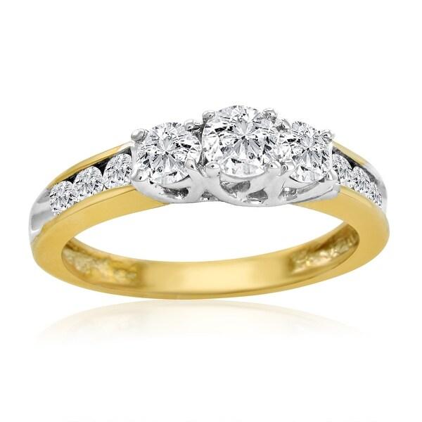 Amanda Rose IGI Certified 10K Yellow Gold Three Stone Plus Diamond Anniversary Ring 1ct total weight ( Available Sizes 5-8)