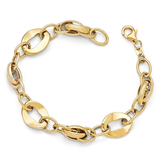 Italian 14k Gold Polished and Textured Fancy Link Bracelet - 8 inches