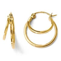 14k Gold Polished Hinged Hoop Earrings