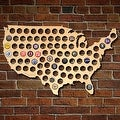 Beer Cap Map of USA Wall Art - Bottle Cap Holder, Large - Thumbnail 0