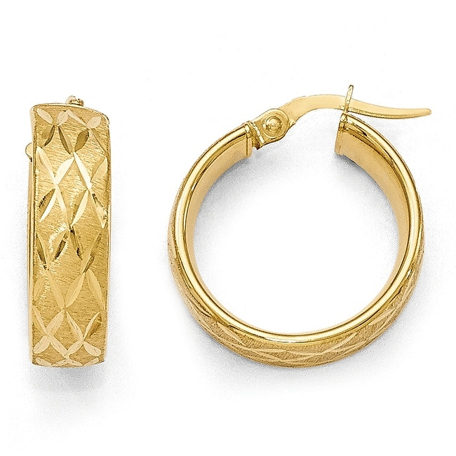 Italian 14k Gold Polished Diamond Cut Brushed Hoop Earrings