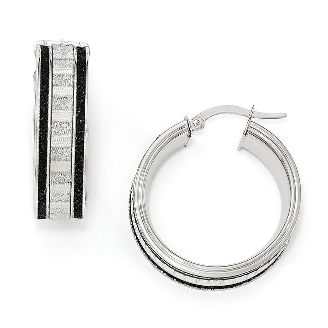 Italian 14k White Gold Black and White Glimmer Infused Hoop Earrings