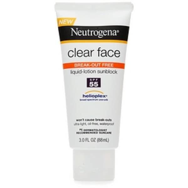 Neutrogena 3-ounce Clear Face Break-Out Free Liquid-Lotion Sunblock SPF 55