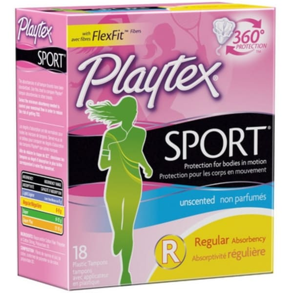 Playtex Sport Tampons Regular Unscented 18 Each