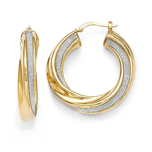 Italian 14k Gold Polished Glimmer Infused Twisted Hinged Hoop Earrings