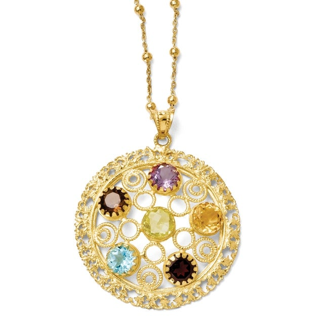 Italian Sterling Silver Gold-tone 18k Flash Gemstone Necklace