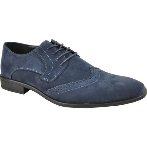 BRAVO Men Dress Shoe KING-3 Wingtip Oxford Shoe Blue - Wide Width Available