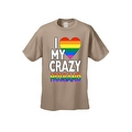 Men's T-Shirt I Love My Crazy Gay Husband LGBT HOMOSEXUAL Pride Unisex - Thumbnail 2
