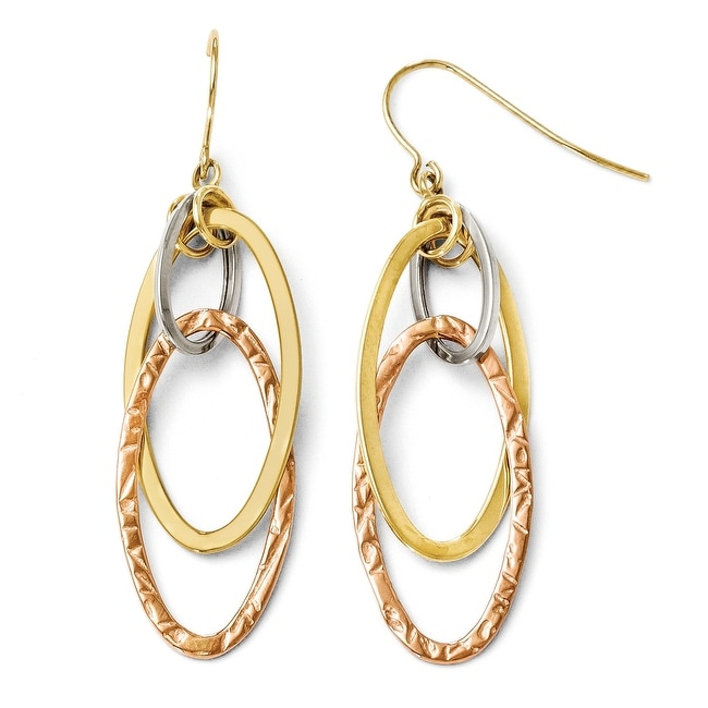 10k Tri-Color Gold Polished and Textured Shepherd Hook Earrings