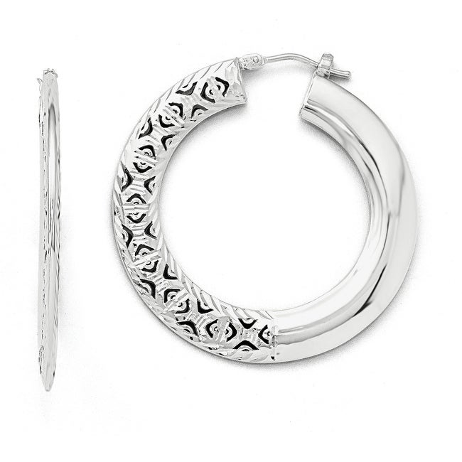 Italian 14k White Gold Polished Lazer-cut Large Round Hinged Hoop Earrings