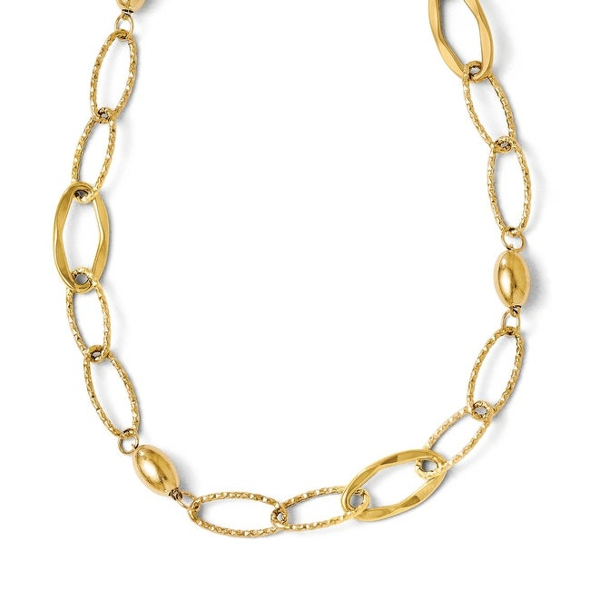 Italian 14k Gold Polished and Textured Fancy Link with 2in ext Necklace - 17.5 inches