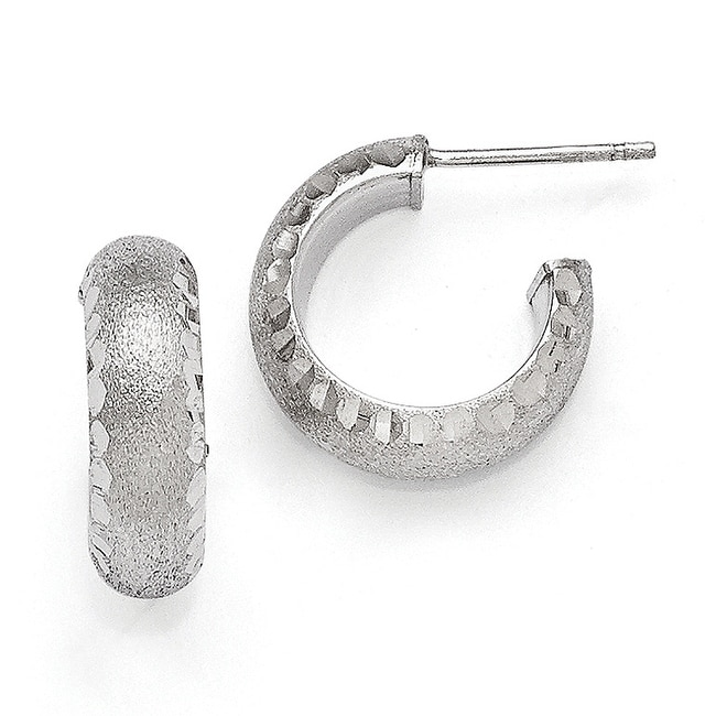 Italian Sterling Silver Radiant Essence Rhodium-plated Post Hoop Earrings