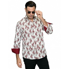 IN-60 Men's Manzini Cream Paisley Design Cotton Shirt with Solid Trim