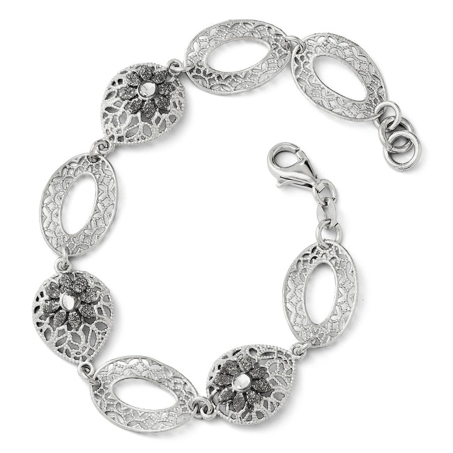 Italian Sterling Silver Diamond Cut and Textured Flower Bracelet - 7.5 inches