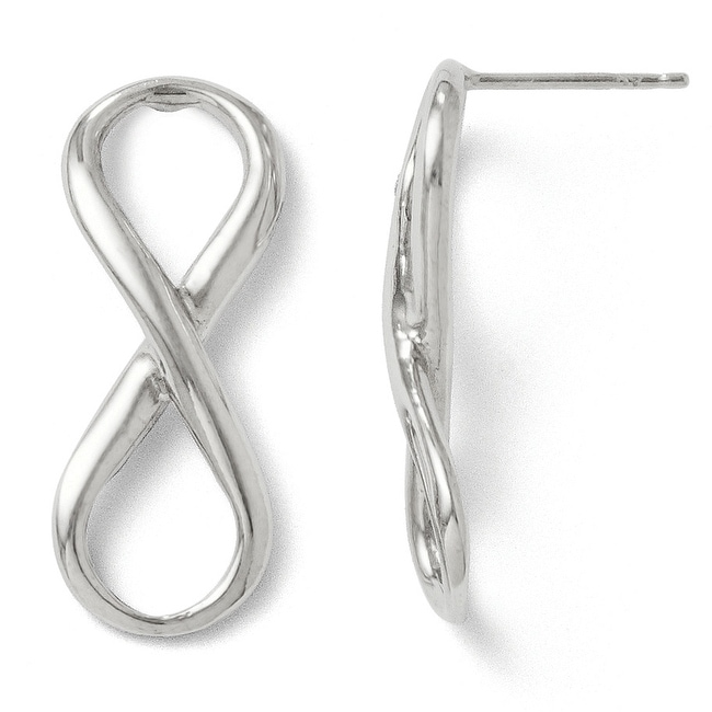 Italian Sterling Silver Polished Ifinity Symbol Post Earrings