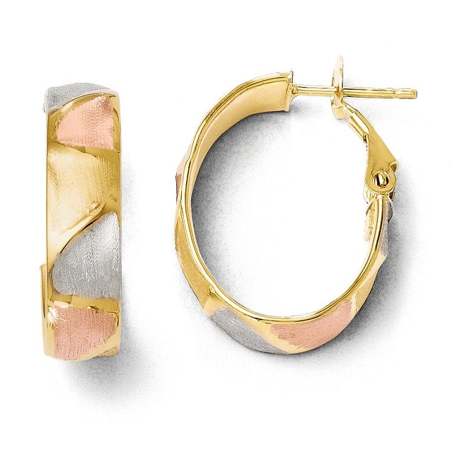 Italian 14k Yellow Gold & RhodiumPolished & Satin Hoop Earrings