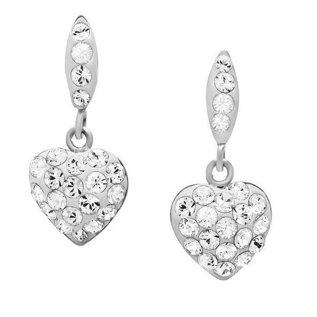 Amanda Rose Sterling Silver Heart Dangle Earrings made with Austrian Crystals