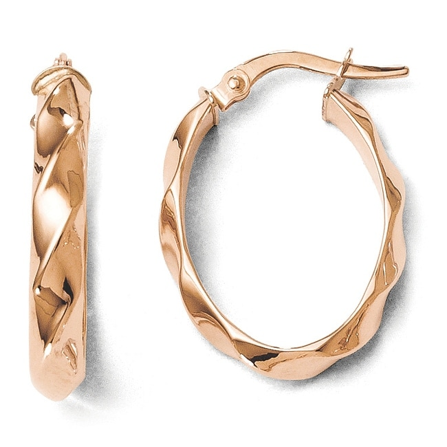 Italian 14k Rose Gold Polished and Twisted Oval Hoop Earrings
