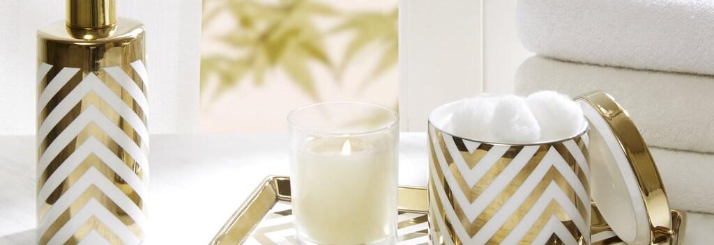 Gold and white chevron striped bathroom accessories