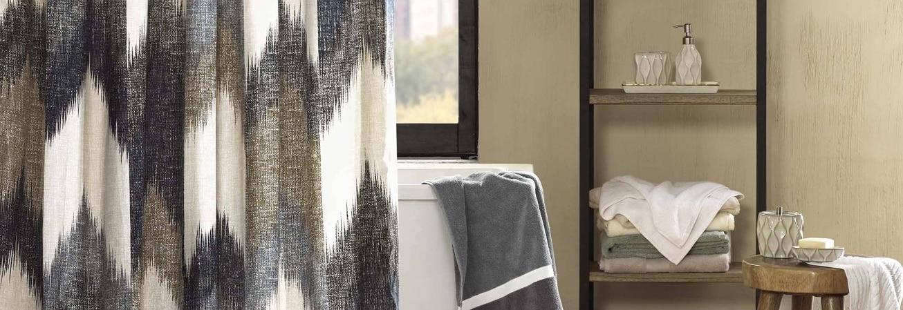 Chevron striped shower curtain in beautiful bathroom