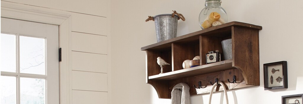 Wooden wall mounted coat rack with cubbies