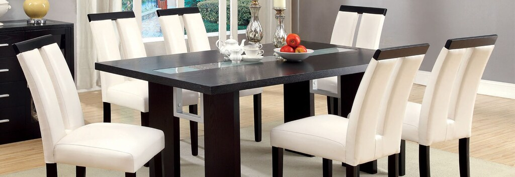 White and black contemporary dining set.