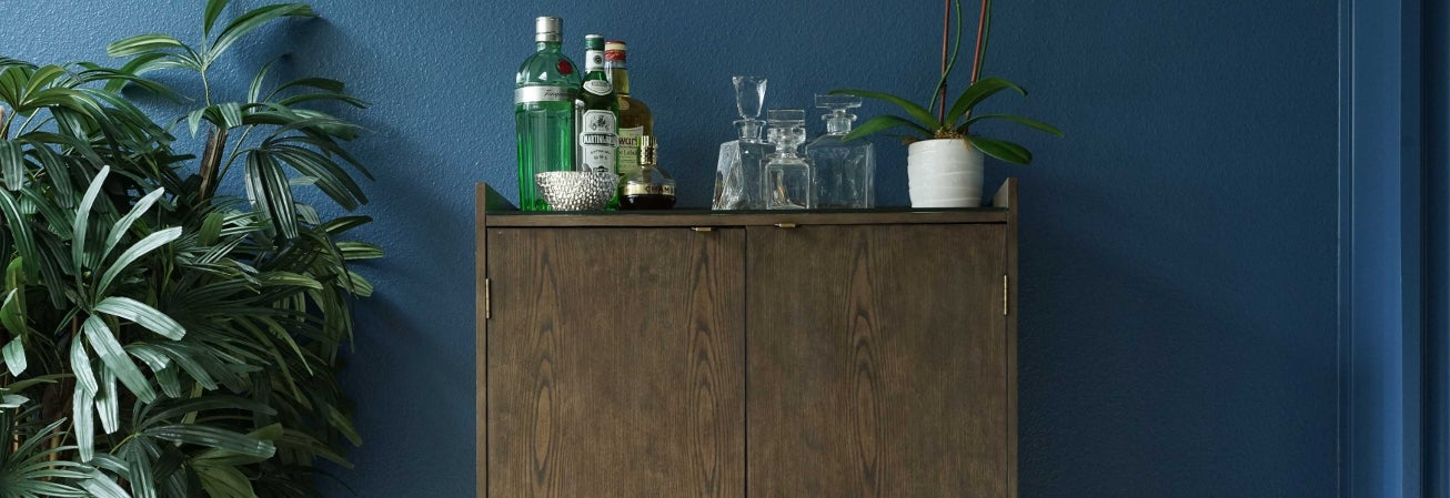 Wood home bar cabinet.