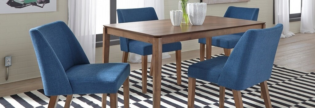 Blue transitional dining room chairs.