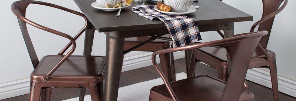 Copper metal kitchen and dining chairs.