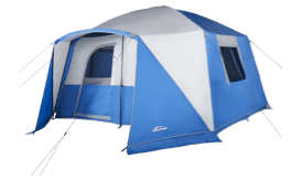 A bright blue and gray tent from Overstock is perfect for this summer's camping trip!