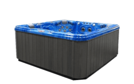 A black and blue hot tub and spa from Overstock is the perfect addition to make your home relaxation ready!