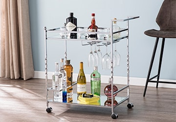 Compact metal rolling kitchen cart