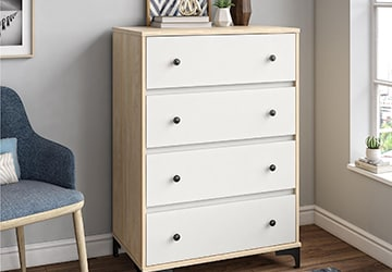natural wood framed chest of drawers with white drawer fronts