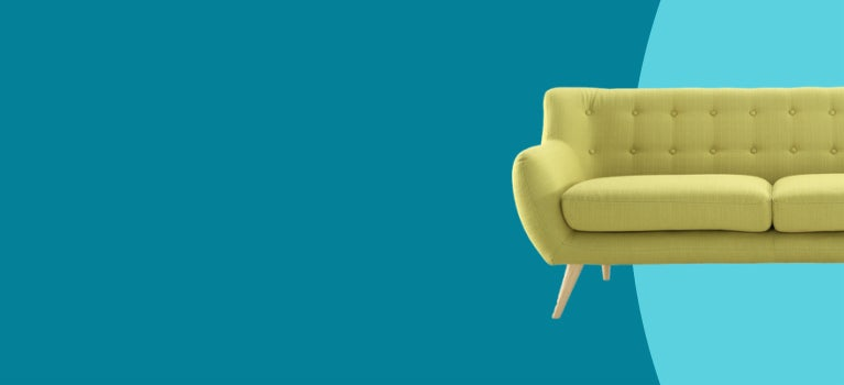 Blue overstock loyalty program banner featuring key lime sofa