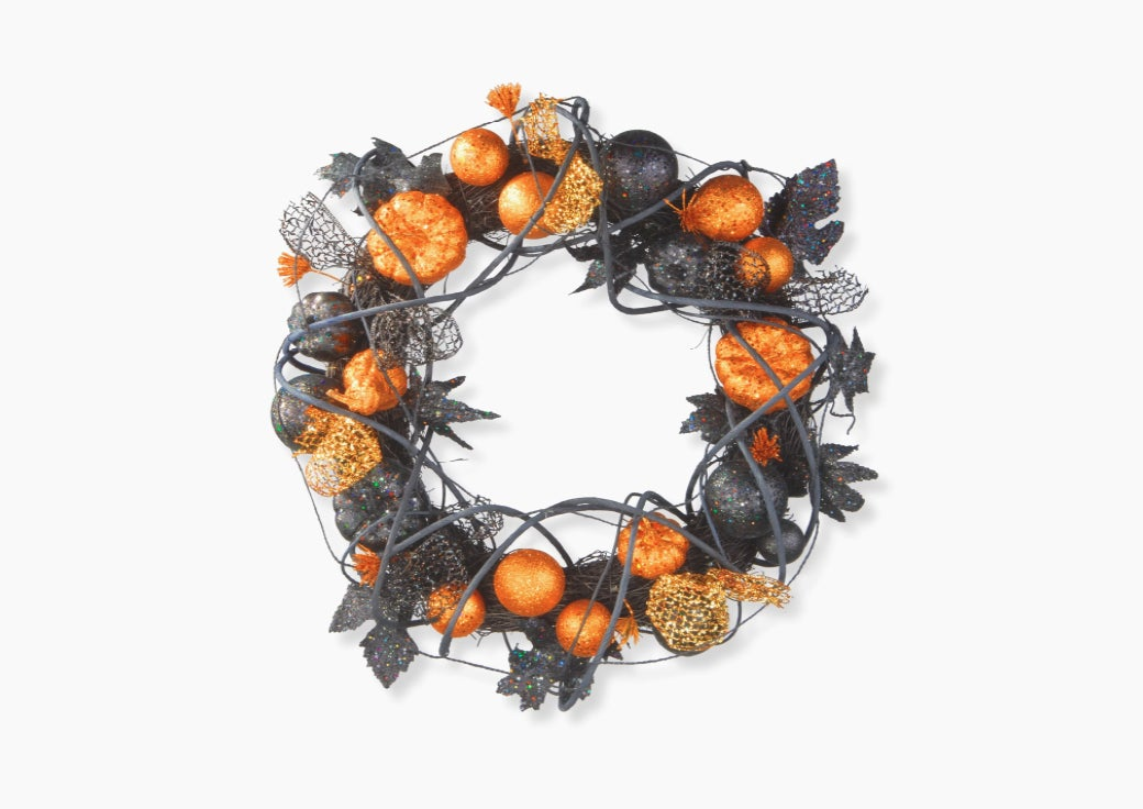 Black and orange Halloween wreath