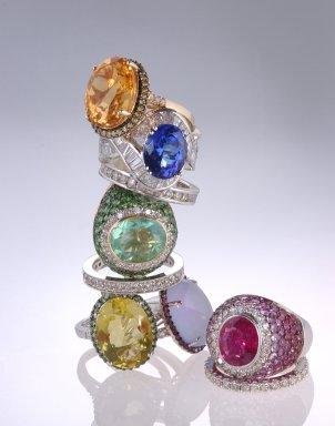 Nine gemstone engagement rings