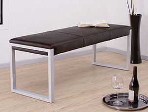 Modern leather and metal bench