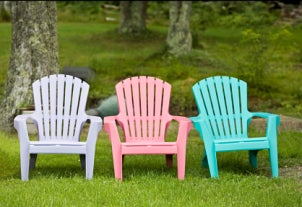 Colorful plastic lawn chairs
