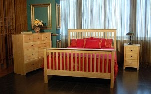 Bedroom furnished with a pine bedroom set