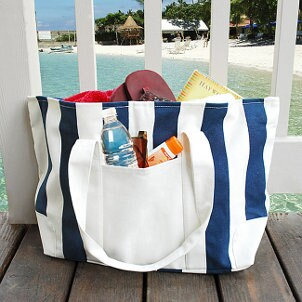 Canvas bag filled with beach gear