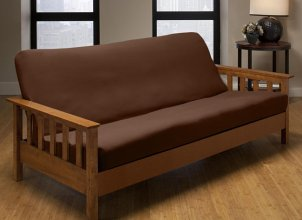 Wooden futon with mattress brown cover