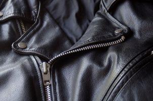 Black, leather motorcycle Jacket