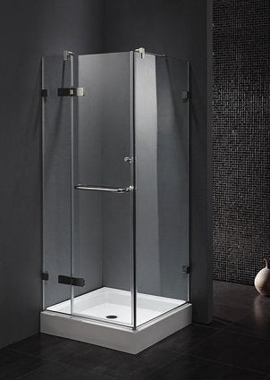 glass shower in modern bathroom