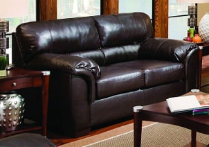 Brown leather sofa in living room