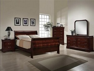 Bedroom with cherry bedroom set