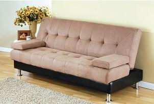 Microfiber sofa on hardwood floor