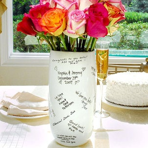 A vase that can be signed is a great alternative to a wedding guest book