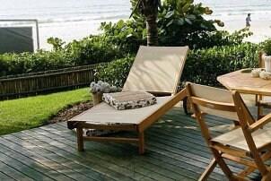 Outdoor furniture on a backyard deck