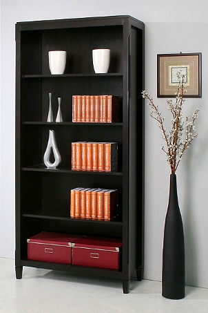 Modern black bookshelf with books and accent pieces
