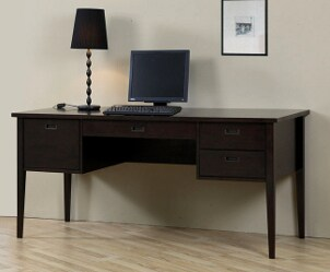 Wood desk in home office